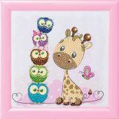 Kit ricamo diamante su telaio - Crystal Art D.I.Y - Giraffa e i suoi amici