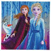 Kit ricamo diamante su telaio - Crystal Art D.I.Y - Elsa, Anna e Olaf