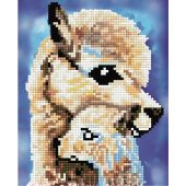 Supporto in cartoncino per ricamo diamante - RTO - Mamma lama e il suo cucciolo