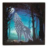 Carta con ricamo a diamante - Crystal Art D.I.Y - Lupo urlante