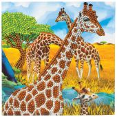 Carta con ricamo a diamante - Crystal Art D.I.Y - Giraffe
