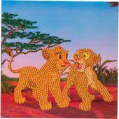 Carta con ricamo a diamante - Crystal Art D.I.Y - Simba e Nala