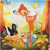 Carta con ricamo a diamante - Crystal Art D.I.Y - Bambi e i suoi amici