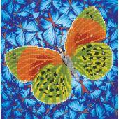 Kit ricamo diamante - Diamond Dotz - Farfalla verde e arancione