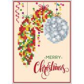 Carta con ricamo a diamante - Diamond Dotz - Decorazione Merry Christmas