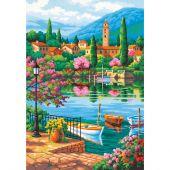 Kit di pittura per numero - Dimensions - Pomeriggio al lago del villaggio