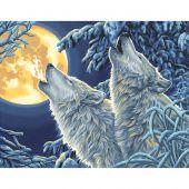 Kit di pittura per numero - Dimensions - Lupi al chiaro di luna