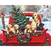 Kit di pittura per numero - Dimensions - Camion di Natale con i cuccioli
