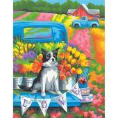 Kit di pittura per numero - Dimensions - Cane tra i fiori