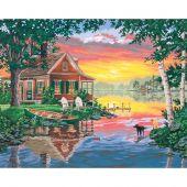 Kit di pittura per numero - Dimensions - Cabina al tramonto