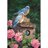 Kit di pittura per numero - Dimensions - Uccelli azzurri in giardino