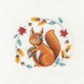 Kit punto croce con tamburo - DMC - Uno scoiattolo così carino