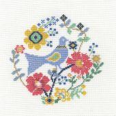 Kit punto croce con tamburo - DMC - Un uccello tra i fiori