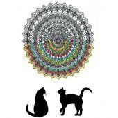 Tela predisegnata - Zenbroidery - Mandala gatto