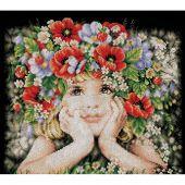 Kit Punto Croce - Lanarte - Ragazza di fiori