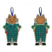 Kit di ornamenti da ricamare - Le Bonheur des Dames - Gatto con fiocco in tartan blu