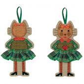 Kit di ornamenti da ricamare - Le Bonheur des Dames - Gonna per gatti in tartan verde
