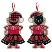 Kit di ornamenti da ricamare - Le Bonheur des Dames - Gonna in tartan rosso gatto nero