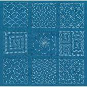 Kit di punti da ricamo - Le Bonheur des Dames - Patchwork Sashiko blu