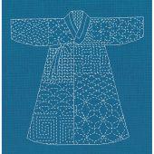 Kit di punti da ricamo - Le Bonheur des Dames - Kimono Sashiko blu