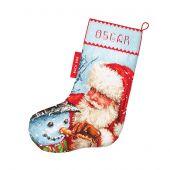 Kit calza di Natale da ricamare - Letistitch - Babbo Natale e pupazzo di neve