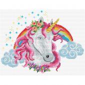Kit Punto Croce - Ladybird - Unicorno arcobaleno