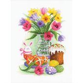 Kit Punto Croce - Riolis - Fiori e coniglietto di Pasqua
