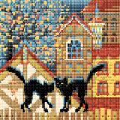Kit ricamo diamante - Riolis - Gatti sulla città in autunno