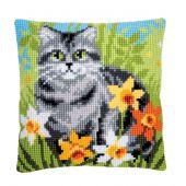 Kit cuscino fori grossi - Vervaco - Gatto tra i fiori