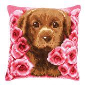 Kit cuscino fori grossi - Vervaco - Cucciolo tra le rose