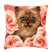 Kit cuscino fori grossi - Vervaco - Gatto tra le rose