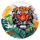 Kit tappeto a punto smirne - Vervaco - Tigre con foglie di giungla