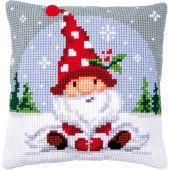 Kit cuscino fori grossi - Vervaco - Gnomo di Natale nella neve