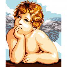 Kit di tela per bambini - Luc Créations - Cuscino da ricamare angelo