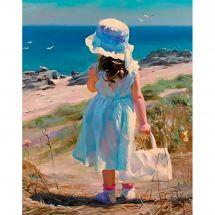 Kit ricamo diamante - Diamond Painting - Bambina vicino al mare