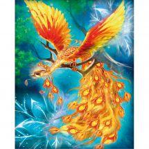 Kit ricamo diamante - Diamond Painting - Uccello fi fuoco