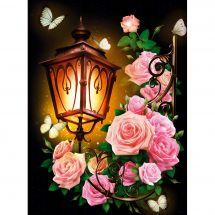 Kit ricamo diamante - Diamond Painting - Lanterna e rose