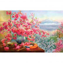 Kit ricamo diamante - Diamond Painting - Bouquet di fiori di ciliegio
