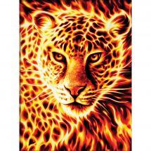 Kit ricamo diamante - Diamond Painting - Leopardo ardente