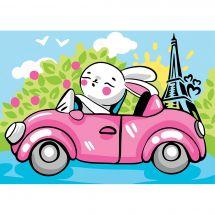 Kit di pittura per numero - Wizardi - Coniglio a Parigi