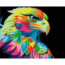Kit di pittura per numero - Wizardi - Aquila arcobaleno