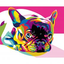 Kit di pittura per numero - Wizardi - Bulldog francese arcobaleno