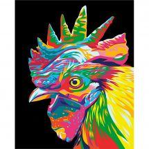 Kit di pittura per numero - Wizardi - Testa di gallo arcobaleno
