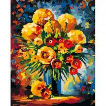 Kit di pittura per numero - Wizardi - Mazzo giallo e rosso
