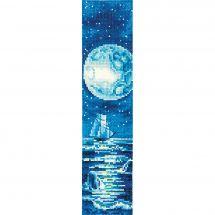 Kit segnalibro da ricamo - Andriana - Luna blu