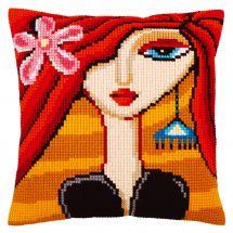 Kit cuscino fori grossi - Collection d'Art - Ragazza con orecchino turchese