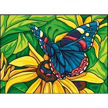 Canovaccio antico - Collection d'Art - Farfalla blu su fiore giallo