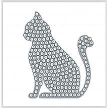 Adesivo da ricamo Diamante - Crystal Art D.I.Y - Sticker - Gatto d'argento