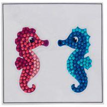 Adesivo da ricamo Diamante - Crystal Art D.I.Y - Adesivo- Coppia di cavallucci marini