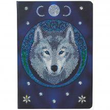 Taccuino da ricamo a diamante - Crystal Art D.I.Y - Luna di lupo
